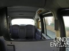 British lesbian amateurs licking in fake taxi