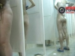 Awesome voyeur spy bathroom cam video of middle aged women
