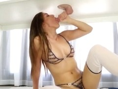 Sexy brunette masseuse Rilynn Rae blowjobs and milking shaft
