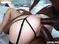 Angelina Diamanti is gently sucking a big, black cock before getting doublefucked like never before