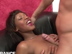 Jenny - Hot Black Bitch Sucks Juicy White Cock
