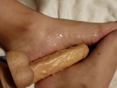 Foot fetish lovers, cum dripping feet , dildo, sissypussy