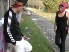 Arab French gal blows jock in public HD video