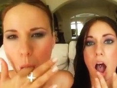Watch these two hot babes get fucked deep in their asses