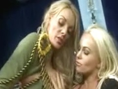 British blond wench in a FFM three-some in yellow fishnets
