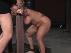 Spitroasted Sub Slave Gagging On Cock