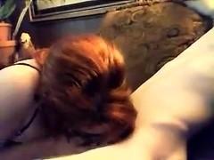 Masked redhead slut sucking hard cock like never before