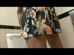 Black teenie getting it good in the bathroom