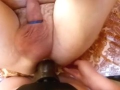 Girl fucking him in the ass