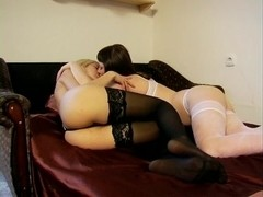 Lesbian mistresses licked by slave