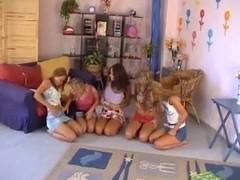 Five girl Lesbians having fun