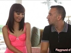 Pretty Japanese call girl Marica Haze pounded on the couch