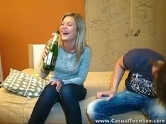Splashes of champagne and cum