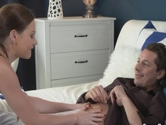 Horny brunette milf sucking limp cock