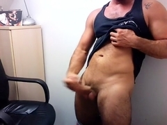 Comely fag is jerking in the guest room and shooting himself on computer webcam