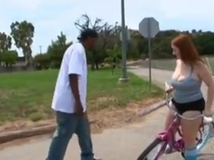 Red head PAWG Felicia Clover gets pounded by long black dick
