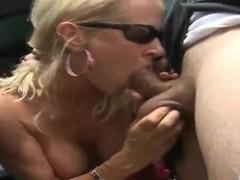 Tabetha wants to suck her friend's pecker ourdoors
