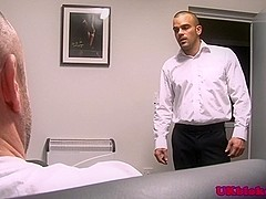 English office studs fuck and masturbate