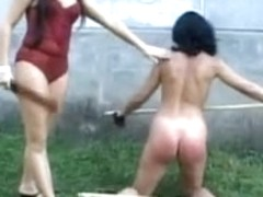 Two babes enjoy some lesbian humiliation