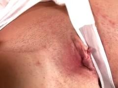 Hawt nurse in nylons masturbates at work!