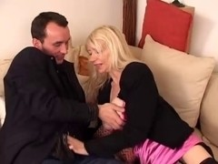 Lovely blonde mature seduces younger French guy