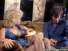 Blonde in lingerie gets cum splash