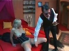 Blond bondman Dildoing and cumming underneath whip
