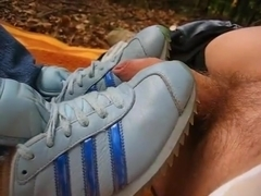 Shoejob with adidas country sneakers and cum