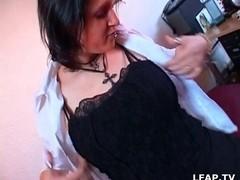 French BBW babe masturbates before hot sex