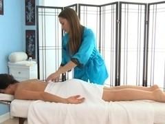 Erotic massage followed by a free lesbian 69 video