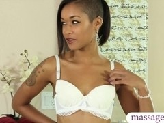 Horny ebony masseuse gives nuru massage n takes a big facial