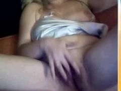 Voracious chunky blondie rubs her cum-aperture on the couch