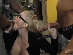 Busty blonde Christie Stevens gets anal from big black cocks