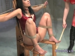 Restrained tanned ### gets lezdom caned