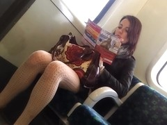 Pretty red head in nice tights