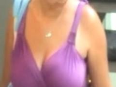 Candid Big Boobs Purple Dress