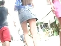 This is a wonderful summer footage of a long legged girl