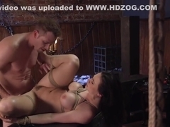 Busty babe deep throat and anal banged