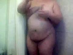 Fat BBW friend taking a shower- The BBW GF