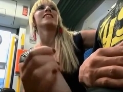 Amazing Handjob in Public Transportation