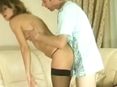 Older Dark Brown in Nylons and her boytoy