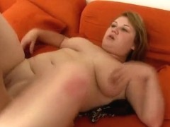 Chubby cutie bonks and sucks on divan