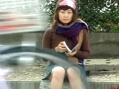 Casual girl experienced skirt sharking on her way home