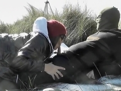 Slutwife gangbanged by strangers at the beach