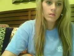 Blonde teen shows her big natural tit on porn webcams