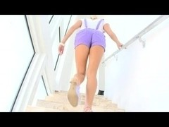 Hot Hawt Ashley Jensen Footjob and Cum On Feet