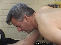 Mature chap receives a-hole spanked and drilled