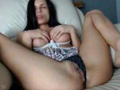 gorgeous girl rides her dildo anally