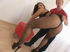 Big booty babe gets spanked and toyed well