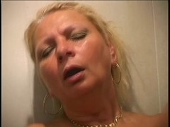 Hot mature mom getting fucked in bathroom by young stud